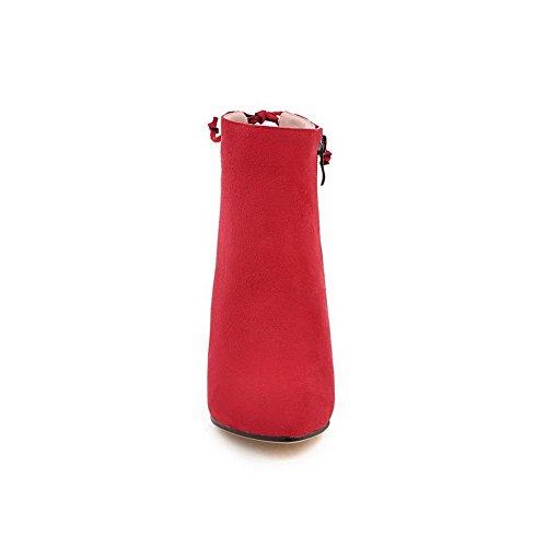 VogueZone009 Donna Pelle Di Mucca Bassa Altezza Puro Cerniera Tacco Alto Stivali Rosso