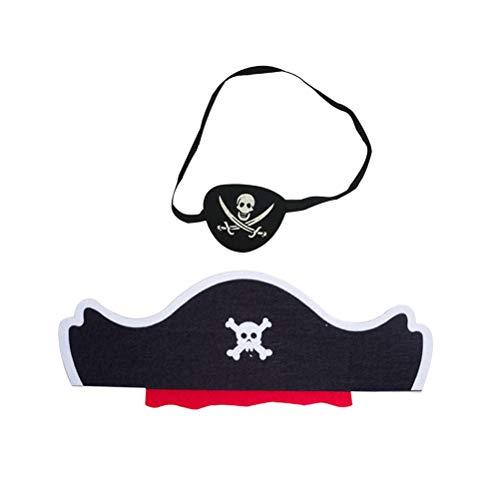 Toyvian 2 stücke Kinder Piratenauge Und Hut Set Piratenkostüm Zubehör Party Favors Cosplay (Schwarz) (Kostüm Jungen Kleinkind Pirat)