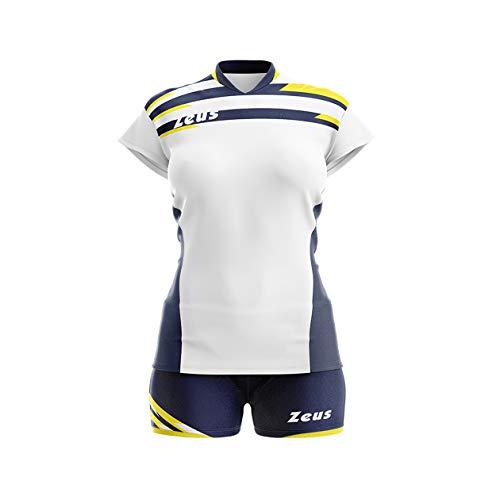 Zeus Kit Itaca Donna Damen Volleyball Trikot Hose Shirt Indoor Handball Training Ausbildung Weiss-Blau-Gelb (S)