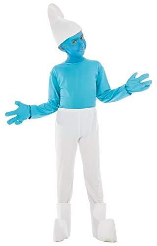 Generique - Schlumpf-Kostüm für Kinder Lizenz-Verkleidung blau-Weiss 128 (7-8 Jahre)