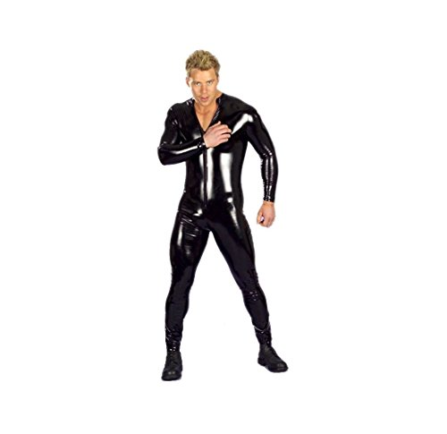 GGTBOUTIQUE Sexy Dessous Herren Latex Catsuit-Leder Body Leotard Anzug Kostüme Dessous Plus Size (Black, ()