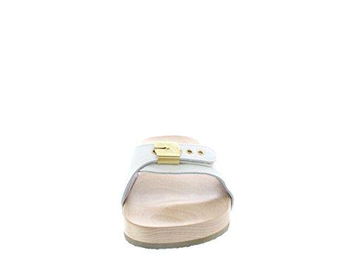 DR.SCHOLL PESCURA FLAT BIANCO ZOCCOLO LEGNO PIATTO Glitter White