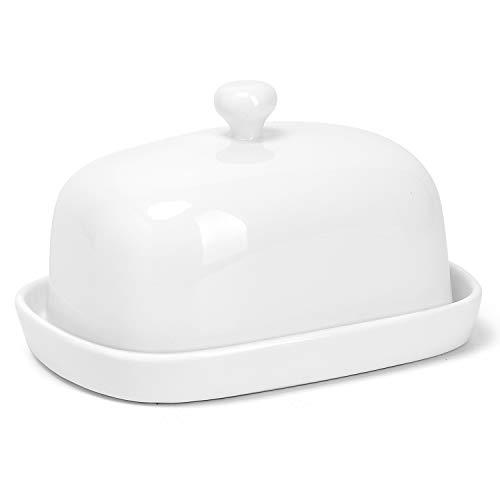 Sweese 3179 Butterdose Porzellan, klassische Butterschale für 250 g Butter, groß, Weiß -