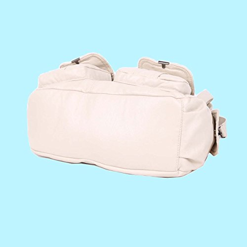 Angelkiss 2 Top Cerniere Multi Tasche Borse Lavato Borse Borse a Tracolla in Pelle Donna 5739/1 Beige