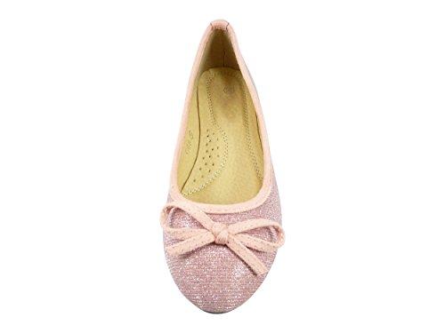 Ballerines en toile et brillante à noeud chaussure femme, bout rond Rose