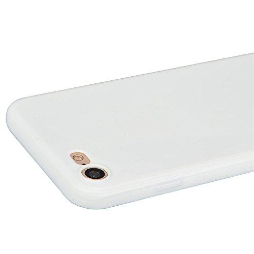 iPhone 7 Hülle, Yokata Einfarbig Jelly Weich Silikon Gel Case Ultra Slim Matte Cover Anti-Fingerprint Schutzhülle Sehr Dünn Handyhülle - Lila Weiß