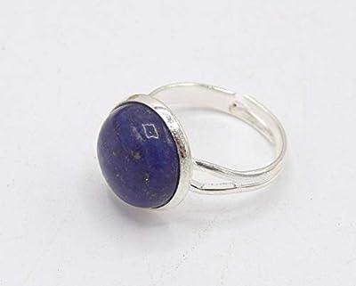 Bague en pierre lapis lazuli argenté, BAGUE REGLABLE pierre de gemme - en laiton