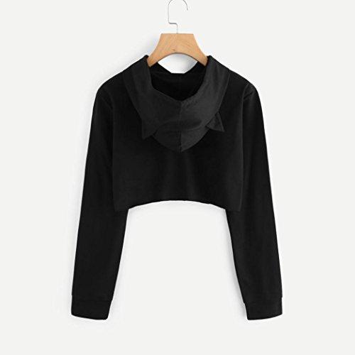 Femme Sweats à Capuche,Quistal Oreille Chat Hoodie Tops à Manches Longues Couleur unie Chemisier Blouse Pullover Sweatshirt Casual Mode Printemps Automne Noir