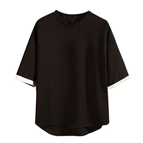 rren Rundhals Kurzarm Tee Tops Blusen Oberteil Männer O-Neck Einfarbig Lose Plus Size Shortsleeve Slim-Fit Tuniken Mode Persönlichkeit T-Shirt Atmungsaktiv Quick-Dry Fitness Tops ()