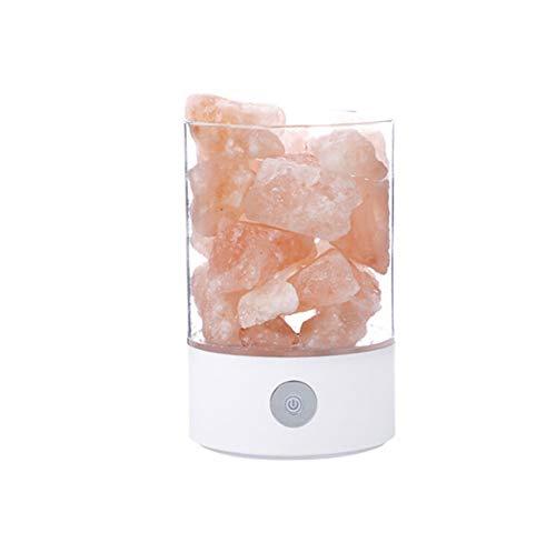 Walmeck- lampada di sale dell'himalaya, usb/adattatore e luminosità regolabile con base