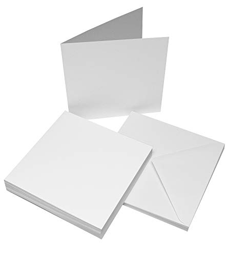 Craft UK 863 8 x 8 inch Card and Envelope pack of 25 - White
