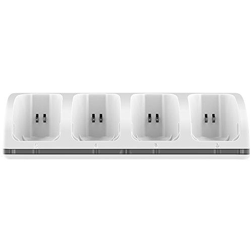 4 in 1 Remote Ladestation für Wii, Hokyzam WL03 Wii Remote Ladegerät mit 4 Akkus und LED-Anzeigen für Wii - Wii-akku-station
