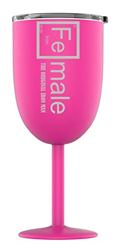 Distinct and Unique Stainless Steel Powder Coated Stemmed Wine Glass Tumbler with Splash Proof Lid, Triple Wall Vacuum Insulated, Premium Party Picnic Fine Dining Goblet (Pink, Fe-Male Iron Man)