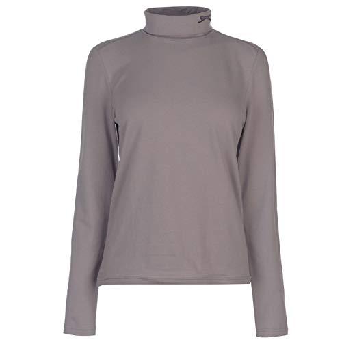 Slazenger Damen Golf Shirt Langarm Rollkragen Logo Grau S