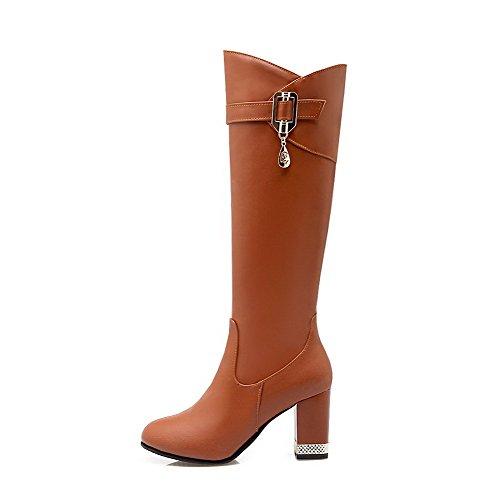 AgooLar Damen Rund Zehe PU Reißverschluss Stiefel, Braun-Blockabsatz, 43