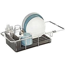 mDesign égouttoir à Vaisselle en Aluminium - seche Vaisselle avec Pot a Couvert Amovible - étendoir pour Vaisselle Extensible pou l'évier - fumée/argenté