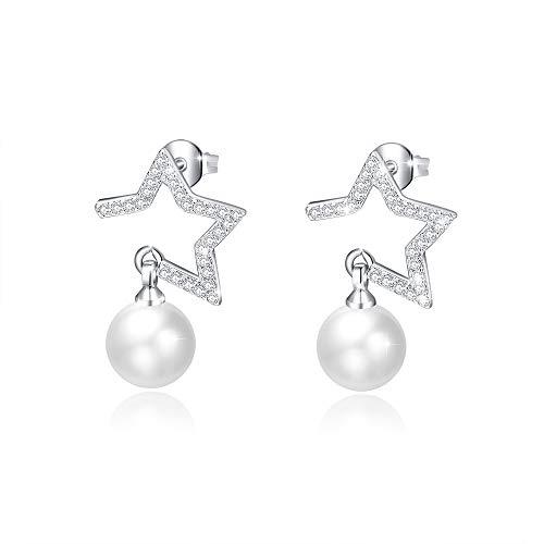 Zuzumia orecchini perla bianca donna Orecchino della vite prigioniera orecchini perla e zircone orecchini perla fiume orecchini in argento 925 di buona lega con perla d'acqua dolce 8mm