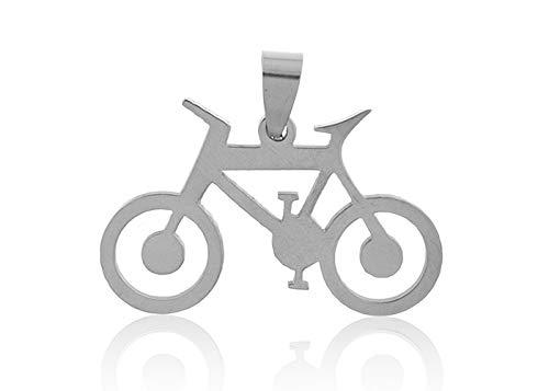 Vital Silberner Anhänger Fahrrad aus Stahl, Anhänger Fahrrad, Anhänger aus Edelstahl, Love Bike