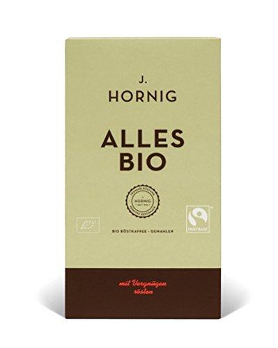 J. Hornig Alles Bio | Kaffee gemahlen | 500g | Bio- und Fairtrade-zertifiziert | Perfekt für Filterkaffee, Frenchpress & Mokkakanne