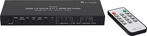 FeinTech VSW04202 HDMI 2.0 Switch 4x1 HD-Audio Extractor 7.1 ARC 4K 60Hz HDR CEC -
