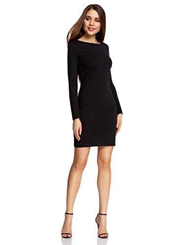 oodji Ultra Damen Enges Jersey-Kleid, Schwarz, DE 38 / EU 40 / M (Freund Kleid)