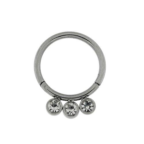 Calibre 16 - 10 MM longueur Grade 23 titane 3 pierres CZ en lunette fixe Segment articulé anneau nez anneau Piercing Titane