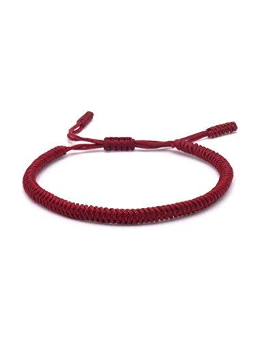 BENAVA Bracelet tibetain Porte Bonheur Rouge Bracelet d'amitié Fait à la Main Table Minimaliste