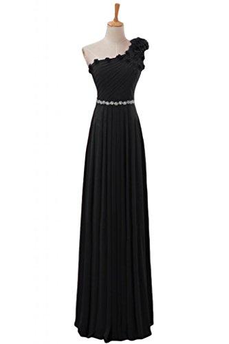 Sunvary elegante Chiffon Una spalla arricciato, per abiti da sera o da cerimonia, con diamanti Nero