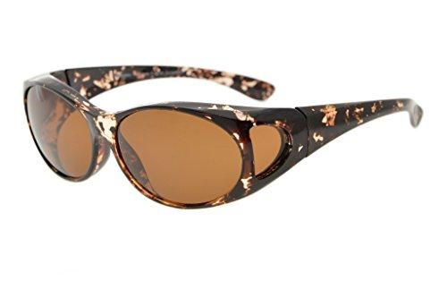Eyekepper Sonnen-Überbrille | Überzieh-Sonnenbrille | UV 400 polarisiert für Brillenträger | Polbrille (Weiße Schildkröte/Braun Linsen)