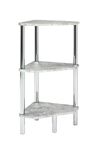 HAKU Furniture Steel Rack, Metal, Chrome/Concrete Optic, 32 x 46 x 77 cm