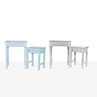 2er-Set Beistelltisch Holztisch Tisch Telefontisch Vintage Shabby Chic Ornament