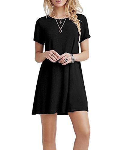 YOUCHAN Vestidos Mujer de Camiseta Suelto Casual Cuello Redondo Ocasional Sólida Mini Vestido_Negro_XL