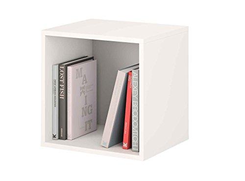 Samblo Mizu Cubo Apilable Cuadrado, Madera y Melamina, Blanco y Gris, 40x40x33 cm