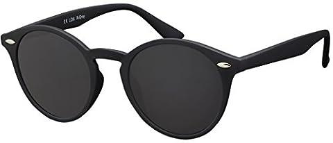 Original La Optica Verspiegelte UV400 Runde Unisex Retro Sonnenbrille - Farben, Einzel-/Doppelpacks (Einzelpack Rubber Schwarz (Gläser: