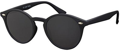 La Optica Verspiegelte UV 400 Runde Damen Herren Retro Sonnenbrille - Einzelpack Rubber Schwarz (Gläser: Grau)