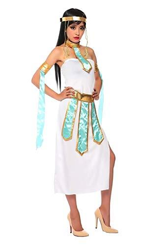 te (Größe M) Cleopatra Kostüm - Ägyptisch - Weiß - Crossdressing - Frau - Erwachsene - Halloween - Karneval - Partys ()