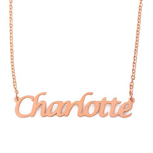 Kigu Charlotte Halskette mit personalisiertem Namen, 18 Karat Roségold, verstellbar, 40,6 cm - 48,3 cm Verpackung