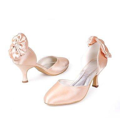 Wuyulunbi@ Scarpe donna seta Primavera Estate della pompa base Wedding scarpe tacco basso punta chiusa Bowknot per la festa di nozze & Sera Champagne rosso bianco Champagne