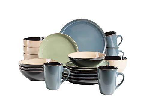 MÄSER 931237 Serie Scuro, Geschirr-Set bunt aus Keramik für 4 Personen, 20-teiliges Kombiservice, modern und mediterran, Grün/Grau/Beige, Steinzeug