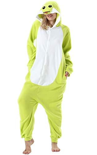 Adulte Unisexe Anime Animal Costume Cosplay Combinaison Pyjama Outfit Nuit Vetements Onesie Halloween Costume Soiree de Deguisements, Vert Serpent