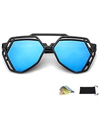 302c14d6beb5db QHIU Lunettes de Soleil Réfléchissant Lentille Eyewear UV Protection  Moderne Unisexe Classique Rétro Mode Creux Polygonale