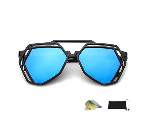 QHIU Sonnenbrille Reflektierende Linse Brillen UV Schutz Moderne Unisex Klassische Retro Mode Hohl Polygonale Brillen Festival Reisen Fahren