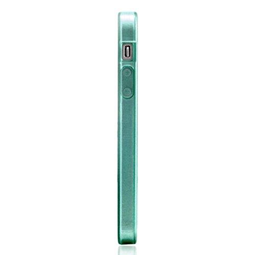RE:CRON® Handycover für Apple IPhone 5, 5S Handy Silikon - Look gebürstetes Metall - Türkis Türkis - Längsschliff