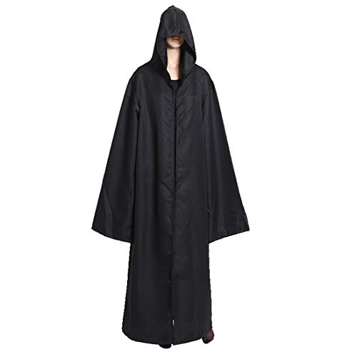 PUDDINGY® Halloween Mit Kapuze Mantel Robe Cosplay Kleidung Passen Ritter Bewachen,Black,M