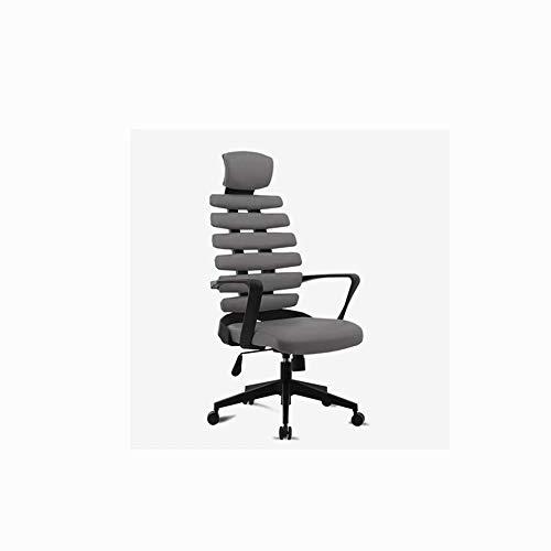 JM-office chair Computer Executive Meeting Bürostuhl mit hoher Rückenlehne und Kopfstütze, modernes und ergonomisches Design. PU-Leder, einstellbare Sitzhöhe, Kippmechanismus, rotierend, grau -
