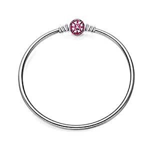 NINAQUEEN Charm-Armband, 19 CM, Rosa, 925 Sterlingsilber, Exquisite Emaille, Standardmäßige Charms passen