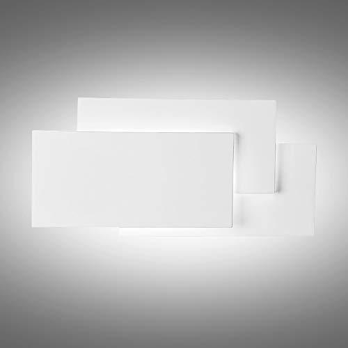 K-bright applique a led,lampada design moderno,versione aggiornata 24w, maggiore luminosità,ip20 impermeabile lampada a effetto a parete in alluminio llluminazione bagno,10.2x4.9x2.2 pollici,bianco naturale, guscio bianco