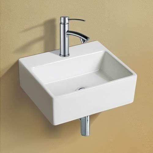 NEG Waschbecken Uno44H (extra klein/eckig) Hänge-Waschschale/Waschtisch (weiß) mit schmalem Rand und Nano-Beschichtung