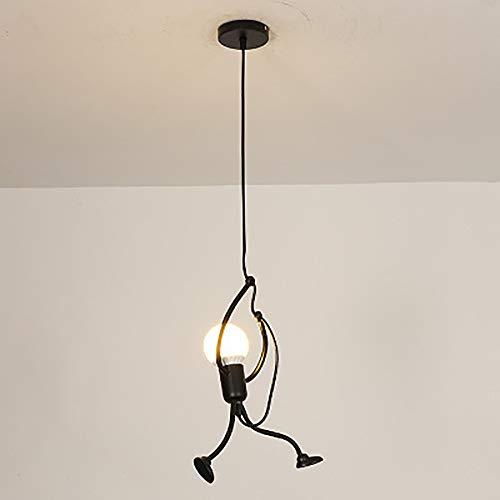 MOCHO AM Moderne et Charmant Suspendus Creative Iron Man Dessin animé Design Lampe Suspendue Élégant Suspendus Enfants Chambre Chevet Salon Balcon Étude Mignon Lustre, 1 Tête [Classe Energétique A +]