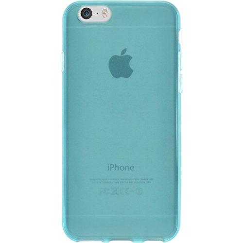 Coque en Silicone pour Apple iPhone 6s / 6 - transparent turquoise - Cover PhoneNatic Cubierta + films de protection turquoise